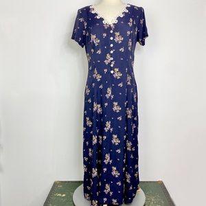Vtg 90s navy blue floral corset back dress